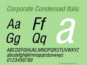 Corporate Condensed Italic Rev. 002.002 Font Sample