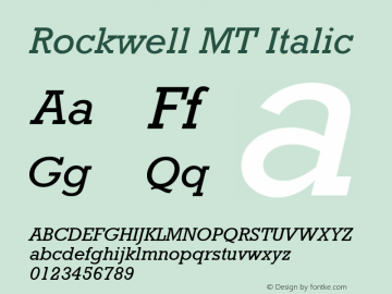 Rockwell MT Italic Version 2.0 - March 2001 Font Sample