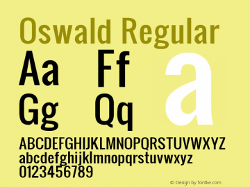 Oswald Regular Version 1.000 Font Sample