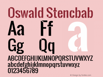 Oswald Stencbab Version 1.000 Font Sample