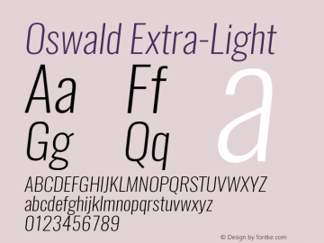 Oswald Extra-Light 3.0; ttfautohint (v0.94.23-7a4d-dirty) -l 8 -r 50 -G 200 -x 0 -w