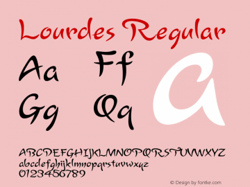 Lourdes Regular Version 1.000 2006 initial release Font Sample