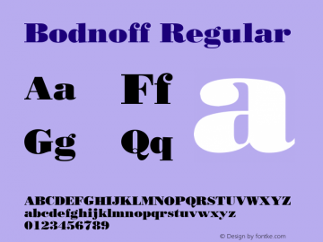 Bodnoff Regular v1.00 Font Sample