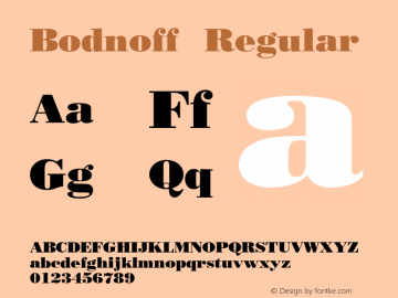 Bodnoff Regular 001.003 Font Sample