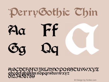 PerryGothic Thin Version Altsys Fontographer图片样张