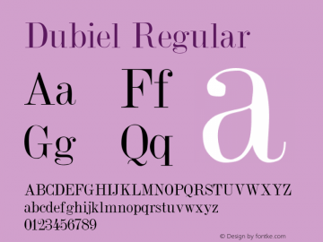 Dubiel Regular Altsys Metamorphosis:3/7/92 Font Sample