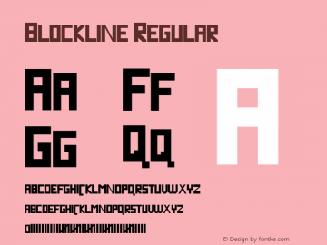 Blockline Regular Version 1.000 2008 initial release Font Sample