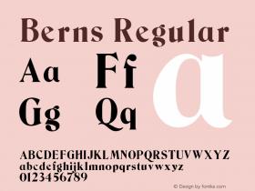 Berns Regular Unknown Font Sample