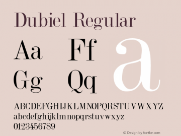 Dubiel Regular Altsys Fontographer 3.5  7/31/92 Font Sample