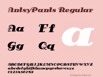 AntsyPants Regular Converted from e:\nickfo~1\ANP_____.TF1 by ALLTYPE Font Sample