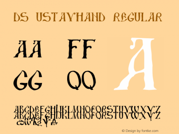 DS UstavHand Regular Version 1.0; 1999; initial release Font Sample