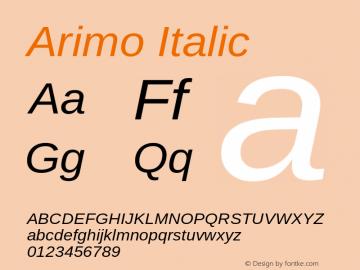 Arimo Italic Version 1.10 Font Sample