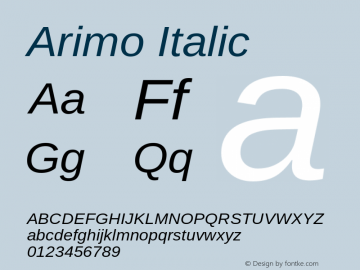 Arimo Italic Version 1.21 Font Sample