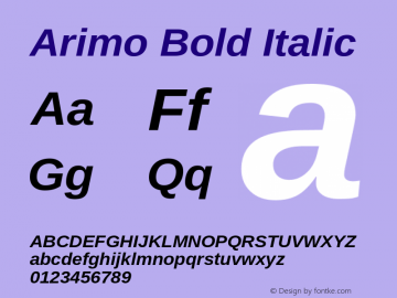 Arimo Bold Italic Version 1.21 Font Sample