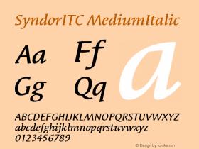 SyndorITC MediumItalic Version 005.000 Font Sample