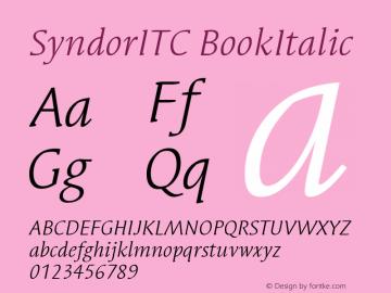 SyndorITC BookItalic Version 005.000 Font Sample