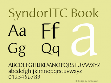 SyndorITC Book Version 001.000 Font Sample