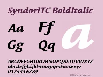 SyndorITC BoldItalic Version 001.000 Font Sample