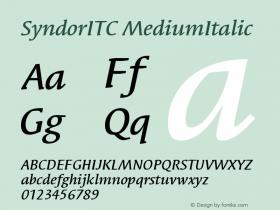 SyndorITC MediumItalic Version 001.000 Font Sample