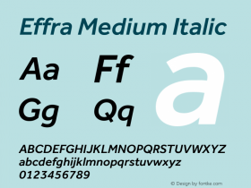 Effra Medium Italic Version 1.010 Font Sample