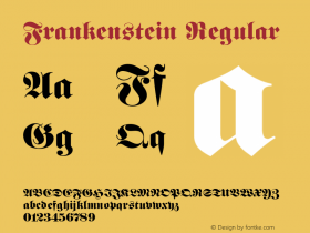 Frankenstein Regular 001.003 Font Sample