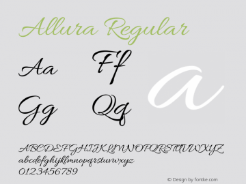 Allura Regular Version 1.004 Font Sample