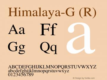 Himalaya-G (R) Version 1.00 Font Sample