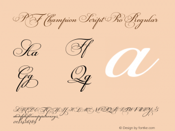 PF Champion Script Pro Regular Version 2.000 Font Sample