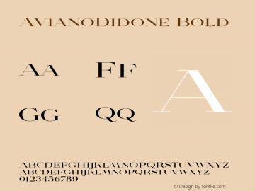 AvianoDidone Bold Version 1.000 Font Sample