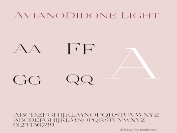 AvianoDidone Light Version 1.000 Font Sample