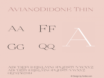 AvianoDidone Thin Version 1.000 Font Sample
