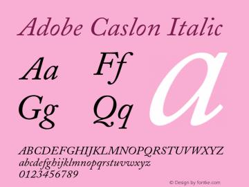 Adobe Caslon Italic 001.001 Font Sample