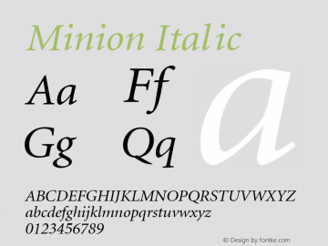 Minion Italic Converted from d:\win\system\MKI_____.TF1 by ALLTYPE Font Sample