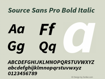 Source Sans Pro Bold Italic Version 1.033;PS 1.000;hotconv 1.0.70;makeotf.lib2.5.58329 Font Sample