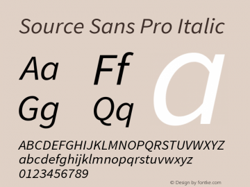 Source Sans Pro Italic Version 1.033;PS Version 1.000;hotconv 1.0.70;makeotf.lib2.5.58329 Font Sample