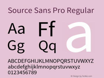Source Sans Pro Regular Version 1.033;PS 1.000;hotconv 1.0.70;makeotf.lib2.5.58329 Font Sample