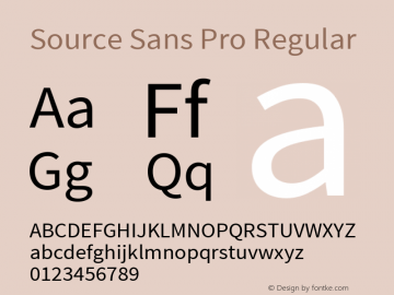 Source Sans Pro Regular Version 1.033;PS Version 1.000;hotconv 1.0.70;makeotf.lib2.5.58329 Font Sample