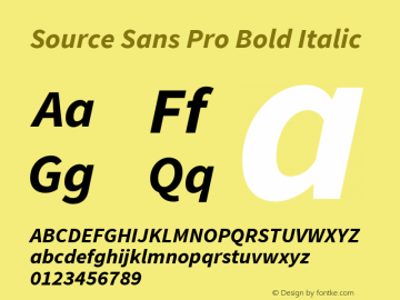 Source Sans Pro Bold Italic Version 1.034;PS Version 1.000;hotconv 1.0.70;makeotf.lib2.5.58329 Font Sample