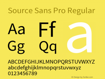 Source Sans Pro Regular Version 1.034;PS Version 1.000;hotconv 1.0.70;makeotf.lib2.5.58329 Font Sample