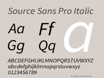 Source Sans Pro Italic Version 1.034;PS Version 1.000;hotconv 1.0.70;makeotf.lib2.5.58329 Font Sample