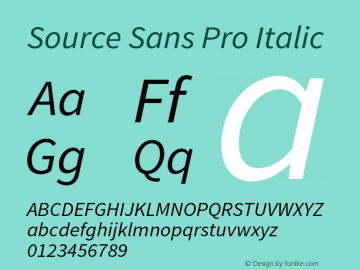 Source Sans Pro Italic Version 1.034;PS 1.000;hotconv 1.0.70;makeotf.lib2.5.58329 Font Sample