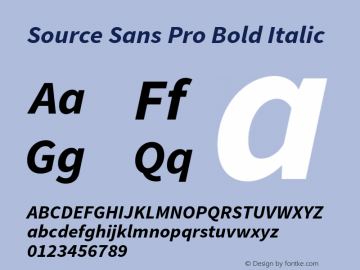Source Sans Pro Bold Italic Version 1.034;PS 1.000;hotconv 1.0.70;makeotf.lib2.5.58329 Font Sample