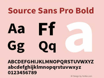 Source Sans Pro Bold Version 1.036;PS 1.000;hotconv 1.0.70;makeotf.lib2.5.5900 Font Sample