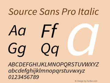 Source Sans Pro Italic Version 1.036;PS 1.000;hotconv 1.0.70;makeotf.lib2.5.5900 Font Sample