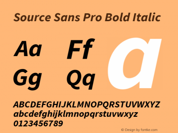 Source Sans Pro Bold Italic Version 1.036;PS Version 1.000;hotconv 1.0.70;makeotf.lib2.5.5900 Font Sample