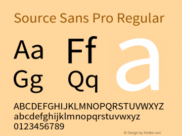 Source Sans Pro Regular Version 1.036;PS 1.000;hotconv 1.0.70;makeotf.lib2.5.5900 Font Sample