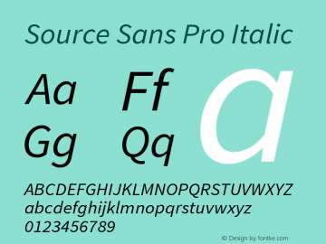 Source Sans Pro Italic Version 1.036;PS Version 1.000;hotconv 1.0.70;makeotf.lib2.5.5900 Font Sample
