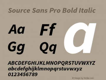 Source Sans Pro Bold Italic Version 1.036;PS 1.000;hotconv 1.0.70;makeotf.lib2.5.5900 Font Sample