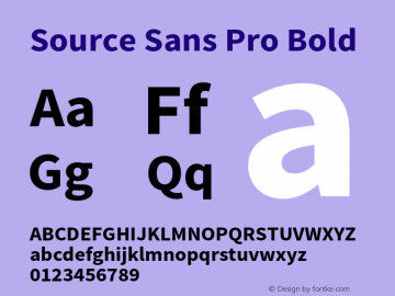 Source Sans Pro Bold Version 1.038;PS 1.000;hotconv 1.0.70;makeotf.lib2.5.5900 Font Sample