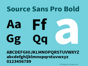 Source Sans Pro Bold Version 1.038;PS Version 1.000;hotconv 1.0.70;makeotf.lib2.5.5900 Font Sample
